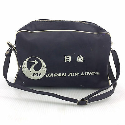 Vintage Japan Air Lines Tote Bag Carry On Travel Luggage Duffel JAL Airlines 70s