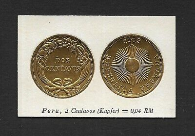 Peru Coin Card by Greiling Germany 1929-1919 2c Kupfer THIS IS NOT A COIN