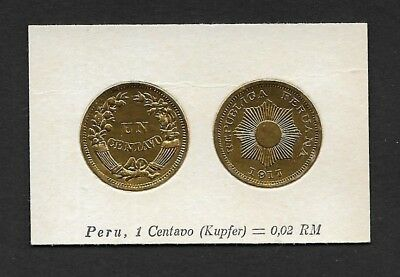 Peru Coin Card by Greiling Germany 1929-1917 1c Kupfer THIS IS NOT A COIN