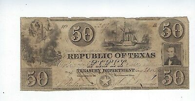 1859 Republic Of Texas Treasury Department ($50)Fifty Dollar Note