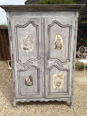 Superb antique french louis xv style double door armoire for French style double doors