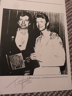 David Bowie - Tony Visconti - A4 signed b/w photo - In person autograph