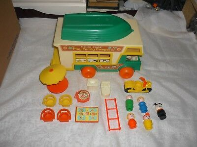 Vintage Fisher Price Little People Play Family Camper W/Boat COMPLETE #994