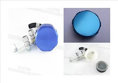 Aluminium brake reservoir set with hose blue alloy top streetfighter