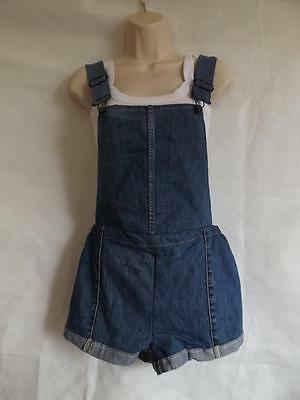 Vintage Dungarees Blue Denim Size 6 8 10 12 Womens Shorts XS Small Playsuit