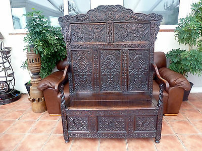 Country Oak Settle John Whatton And Katherine  1651 Free Shipping To England