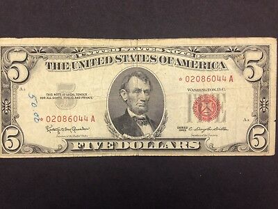 USA  5 Dollars  1963  STAR Replacement note  --  US Note