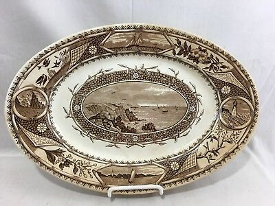 c1870's Turner & Sons Phileau Tunstall Brown Transferware Platter Lighthouse ++