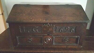 Antique carved oak desk box 17th century, rare dated 1696 William III PROVENANCE