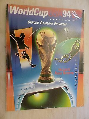 1994 Usa World Cup Official Gameday Programme & Schedule Insert