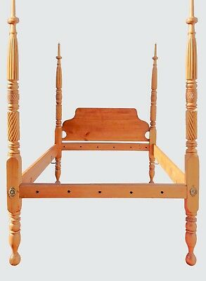 18Th Century Cherry Carved Canopy Four Poster Tester Bed
