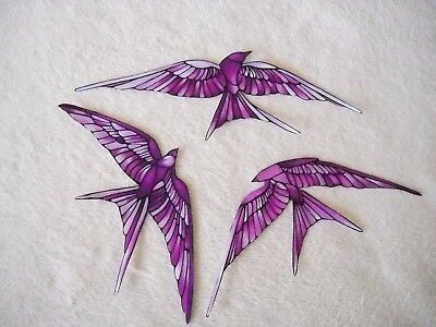 """stained Glass Fabric"" Bird Appliques  Iron On  #02"