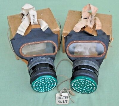 Pair WW2 English Gas Masks in Original Box's, Shelter Tag, Mother & Daughter