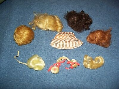 Vintage Barbie Fashion Queen Scarf & Wigs & Francie Hair Happenins Hair Pieces