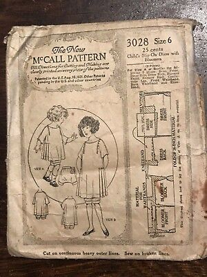 Antique Early McCall Printed Sewing Pattern 3028 Girls Slip-on Dress Bloomers 6