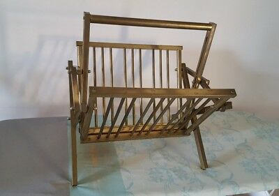 Vintage 1960s folding brass magazine rack Mastercraft style