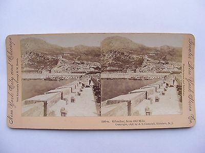 New York City & Chicago. Stereoscopic Photograph - Gibraltar From Old Mole 1898