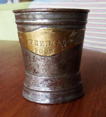 Antique Baby Beaker/rattle - Tin - 1893        Cl3/4