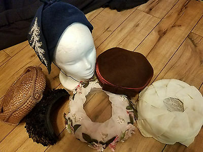 lot of 6 vintage LADIES HATS  VARIED ASSORTMENT 40'S 50'S & TIMELESS