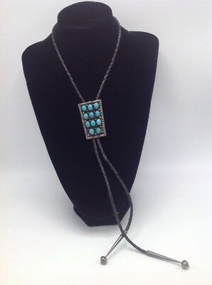 """Sterling Silver Turquoise Gem Signed Bennet Bolo Tie 15""""  51.3g"""