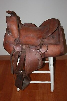 "Antique Western Tooled Leather Saddle 14.5"" High Back Wooden Stirrups FREE SHIP"