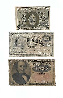 Set of 3 U.S. Fractional Notes: 10, 15 & 25 Cents  1860s/70s