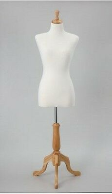 "Female Dress Form Fully Pinnable Foam Sewing Base White Mannequin  35"" 25"" 35"""