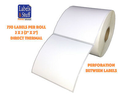 """1 Roll 750 Labels 2x2 (2"""" x 2"""") Direct Thermal Zebra Eltron Labels"""