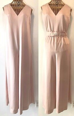 Vintage 1970s Pale Pink Sleeveless Bell Bottom Palazzo Disco Jumpsuit size L P11