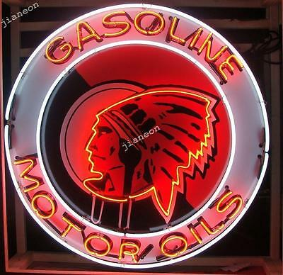 "24""X24"" Red Indian Head Motor Gas & Oil NEON SIGN BEER LIGHT Silkscreen Backing"