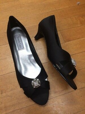 Touch Ups Black Satin Kitten Heels Size 9.5