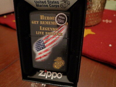 Usmc United States Marine Corps Legends Live Forever Zippo Lighter Mint In Box