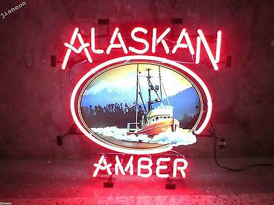 "24""X24"" Huge New ALASKAN BREWING ALASKA AMBER BEER BAR REAL NEON SIGN LIGHT"