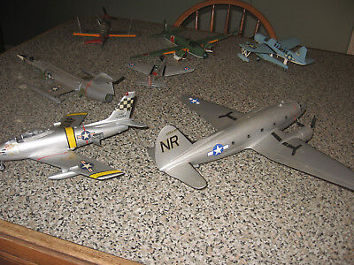 LOT OF 7 VINTAGE MILITARY WW2 model PLANE LOT PLANES AIRPLANES PARTS/REPAIR