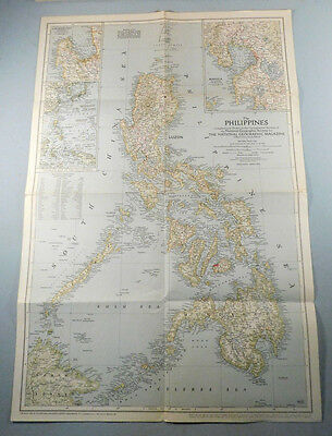 """Vintage 1945 National Geographic Magazine Map The Philippines 17.5"""" x 26"""""""
