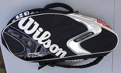 Black Wilson Pro Tour K Factor Tennis Racquet Thermo Guard Bag  Dual Back Straps