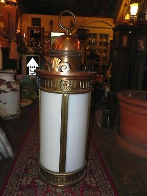 Large Antique Vintage Cast Bronze Cylinder Lantern Light With White Glass