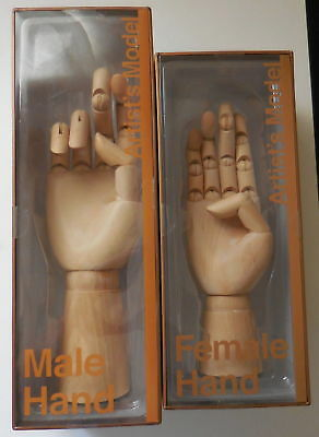 Barnes & Noble Wooden Male & Female Right Hand Artist's Model 1 of each NEW