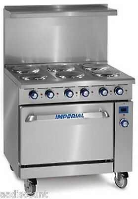 """NEW IMPERIAL RANGE 36"""" ELECTRIC RANGE 6 ROUND PLATE ELEMENTS OVEN IR6E Ir-6-e"""