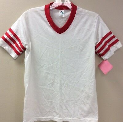 Augusta Youth Large Retro Kids Tee Shirt White Red Stripes Made USA Cott/Poly