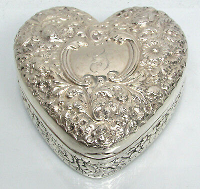 FABULOUS c.1910 REPOUSSE GORHAM STERLING HEART SHAPED JEWELRY BOX