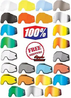 100% Percent Brand Goggle Replacement Lens Racecraft Accuri Strata Choose Color