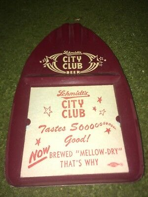 new old stock Vintage Schmidt's City Club Beer Tip Tray Ashtray Advertising Sign