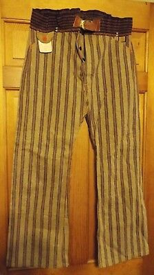 Early 1900's Mens Striped Denim Miners Pants, Gold Diggers NOS