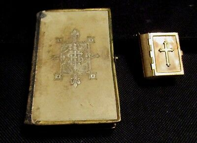 Vintage Leather Common Prayer Book & Miniature New Testament Metal Cover Bible