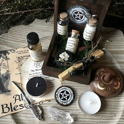 Witch Altar Box Moon Ritual Kit Wicca Pagan Goddess Handmade Supplies