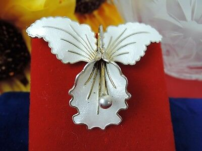 Vintage Norway Sterling Brilliant Luminous White Enamel Orchid Brooch*3-D*wow!