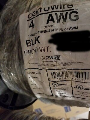 Cerrowire #4awg SLiPWire THHN/THWN-2 Stranded Copper Building Wire Black /50ft