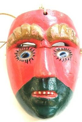 "Vintage Guatemalan ""Moor"" Mask/Dance of the Christians and Moors/Glass Eyes"