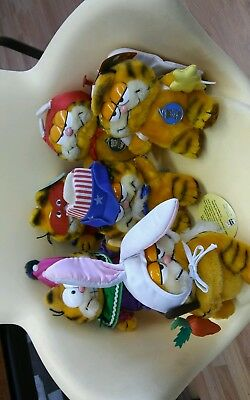 Vintage 1970s Garfield. 4 with tags. Devil. Caped avenger. Easter bunny. Clown.